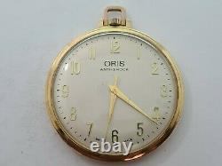 Vintage 1961 Oris Swiss Made Gold Plated Pocket Watch + Chain VGC Rare