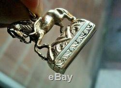 Vintage 9ct Yellow Gold & Carnelian HORSE Watch Chain Fob h/m 1967 Birmingham