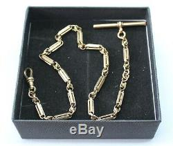 Vintage 9ct Yellow Gold Single Albert Chain With An Unusual Chain
