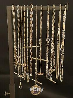 Vintage Gold Filled GF Pocket watch Chains lot of 13 chains etc