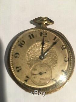 Vintage Hamilton 14K pocket watch 12S 17J + 2 Gold Chains