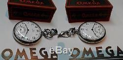 Vintage Mens Pocket Watch Omega Swiss Made Open Face Box Chain