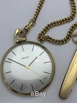 Vintage Omega 10K Gold Filled Manual Wind-Up Pocket Watch With Chain And Knife