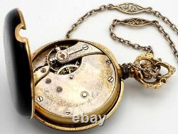 Vintage Smith Patterson & Co. Watch with 14K Chain 14K/Enamel Gold Runs Swiss