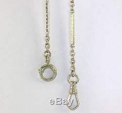 Vintage pocket watch chain 14K white gold textured bar cable chain 14 10.5 gram