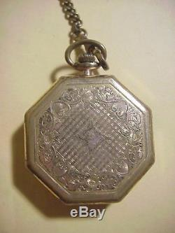 WALTHAM 15 Jewels ANTIQUE Octagon DRESS Gold Vest POCKET WATCH with Chain