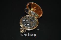 Waltham 14k Solid Gold Pocket Watch 1874 & gold-filled fob chain with intaglio