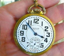 Waltham 21j/rare Dial Pocket Watch/anitique 14k Solid Gold Chain & Gf Fob