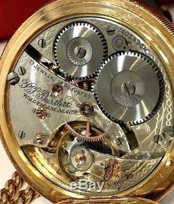 Waltham Pocket Watch withChain 14k Solid GOLD Vintage 54MM Hunter Circa 1800 rare
