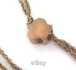 Wow! 14k Gold Antique / Long Double Strand Chain + Bejewelled Slider